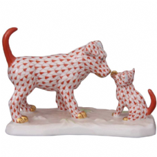 Herend Porcelain Fishnet Figurine of a Dog and Cat